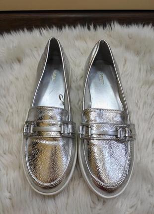Стильные серебристые слипоны кеды туфли балетки лоферы металлик