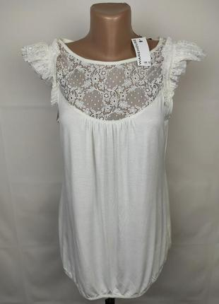 Блуза новая белая с кружевной кокеткой warehouse uk 12/40/m