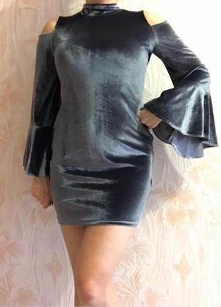 Велюровое оригинальное платье р. 42-44-46