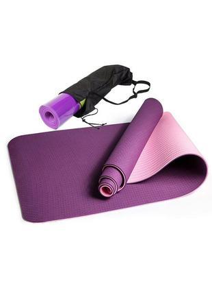 Профессиональный коврик для фитнеса и йоги easyfit tpe, с чехлом 183х61х0,6