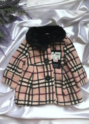 Шикарное шерстяное осеннее пальто для девочки 0-6мес