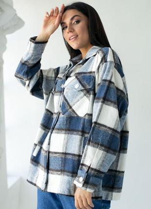 Теплая рубашка из пальтовой ткани в клетку
