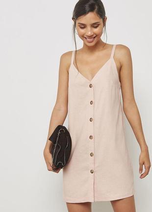 Стильное пудровое  мини платье - комбинация