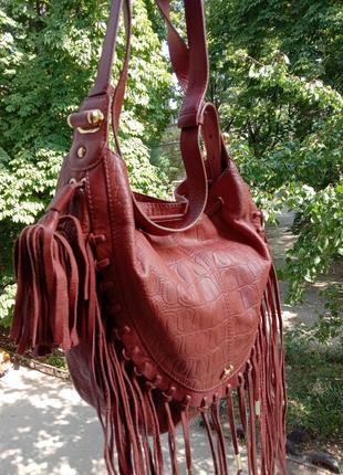 Эксклюзивная кожаная сумка radley с бахромой