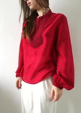 H&m conscious блуза из лиоцелла с вышивкой и объёмными рукавами пуфф