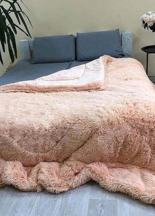 Одеяло покрывало меховое толстое травка