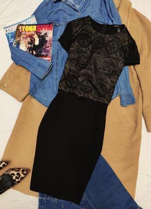 Платье чёрное с бежевой вставкой базовое повседневное mango