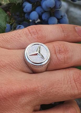 Кольцо мерседес из серебра