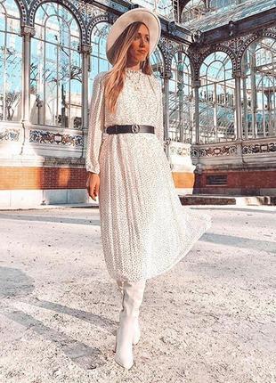 Zara светлое платье в горох с поясом, m-l