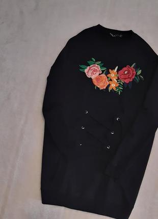 Новый свитшот хлопок чёрный свободного стиля оверсайз с вышивкой размер 6-8-10 boohoo