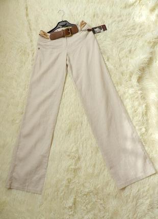 Летние льняные брюки с поясом