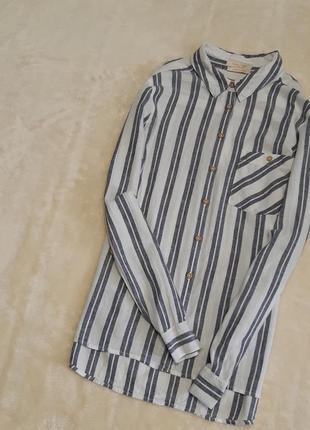 Новая льняная рубашка белая в серую полоску длинный рукав размер 10-12 f&f