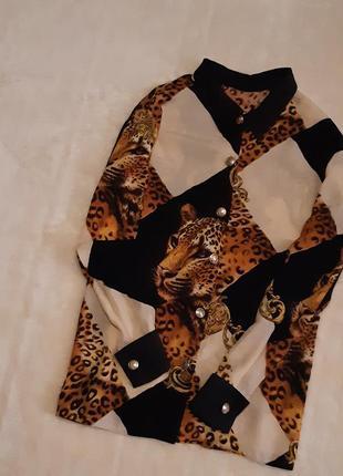 Блуза рубашка вискоза длинный рукав леопардовый принт размер 16 st michael