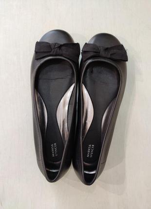 Marks & spencer чёрные кожаные туфли балетки