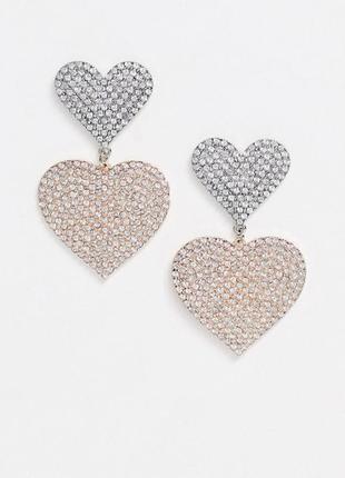 """💕 нежные серьги-гвоздики с кристаллами """"сердечки"""" от asos оригинал"""
