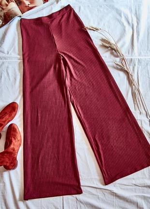 Широкие женские штаны с разрезами от бедра, бордовые кюлоты, брюки