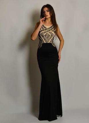 Вечернее смарт-платье с разрезом и кружевом tfnc london