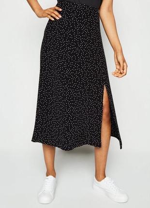 Шикарная юбка миди в горошек с разрезом спереди юбка горох спідниця міді