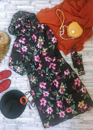 Теплый разноцветный длинный пуховик макси парка в цветочек с капюшоном с мехом