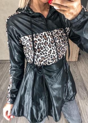 Ветровка анорак леопардовая