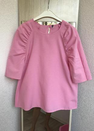 Хлопковая розовая блуза с пышными рукавами primark