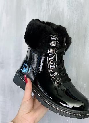 Новые женские зимние чёрные лаковые  ботинки