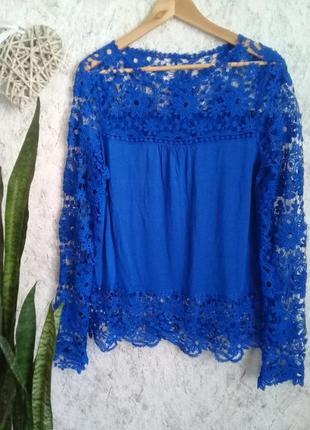 Очень красивого цвета кружевная блуза р. 50 от elite99