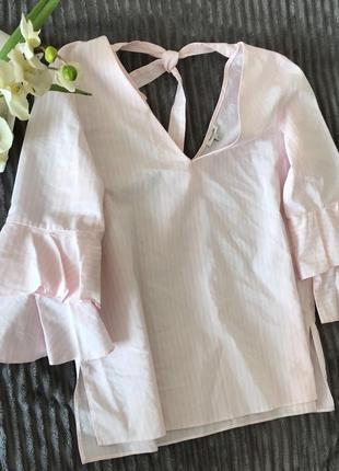 🌿хлопковая рубашка в мелкую полоску с рюшами/воланами