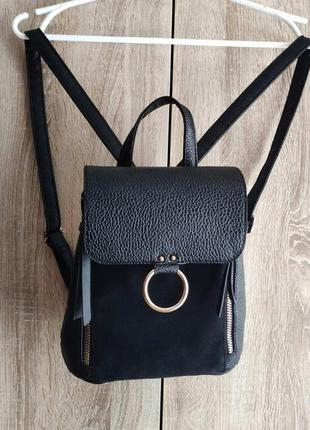 Маленький черный   рюкзак из экокожи в классическом стиле, atmosphere