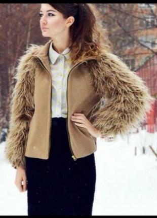 Стильный кашемировый пиджак/куртка рукава из искуственного меха ламы