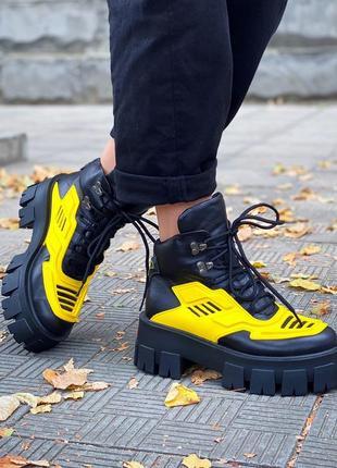 36-40 ботинки на массивной тракторной подошве стильные удобные модные яркие