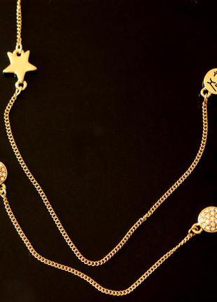 Цепочка колье с подвесками напыление золота pilgrim дания элитная ювелирная бижутерия