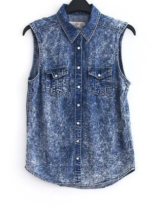 Чудесная джинсовая рубашка-безрукавка на кнопках new look • р-р 8\36 (s)
