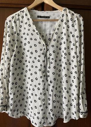 Актуальная чёрно-белая блуза zara
