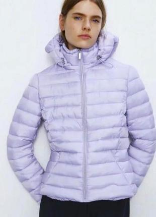 Куртка zara зара курточка стёганая пуфер лиловая деми осень