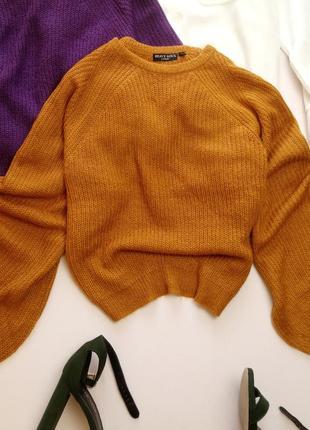 Горчичный лёгкий но тёплый свитер с объёмным рукавом brave soul