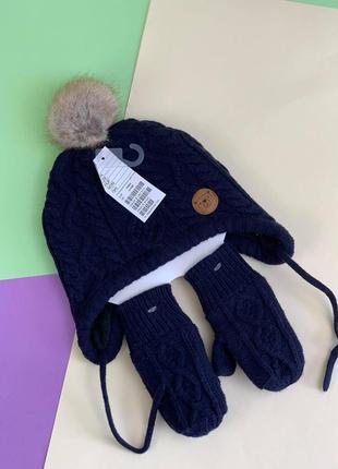 Шапка на мальчика, шапка зимняя, шапка h&m, шапка и варежки h&m