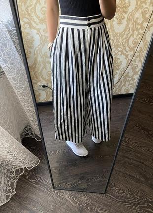 Кюлоти в полоску брюки штаны широкие