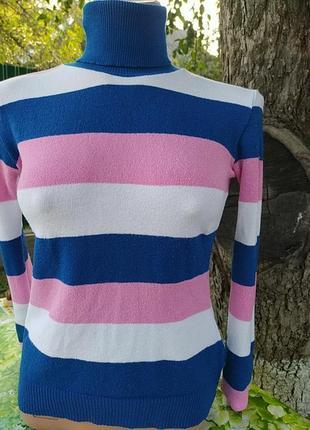 Свитерок синий белый розовый в полоску
