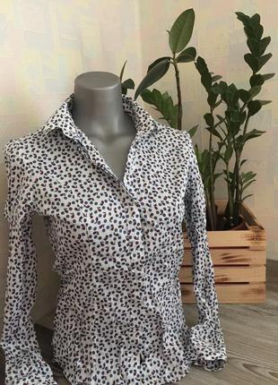 Белая рубашка с узором xs s t.m.lewin