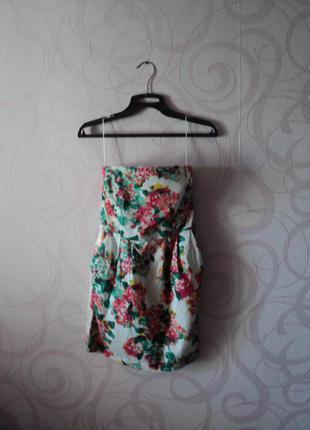 Платье-бандо с цветочным принтом, летнее коктейльное платье, платье на выпускной на лето