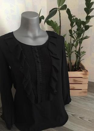 Чёрная шифоновая блузка с рюшами xs s ручная работа