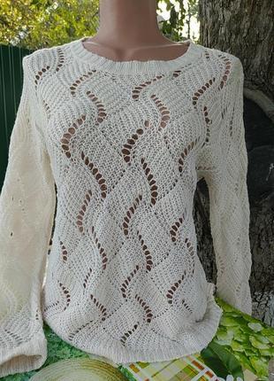 Белый бежевый свитерок шерстяной в дырочку