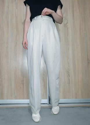 Винтажные брюки палаццо цвета слоновой кости на очень высокой посадке