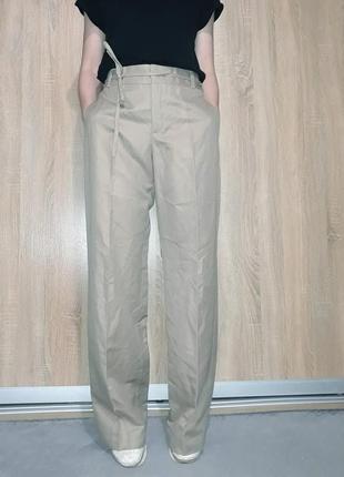 Льняные лляні бежевые брюки палацо со стрелками с поясом на высокий рост zara