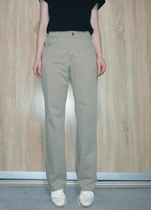 Винтажные коттоновые джинсы wide leg бежевого цвета на высокой посадке angel