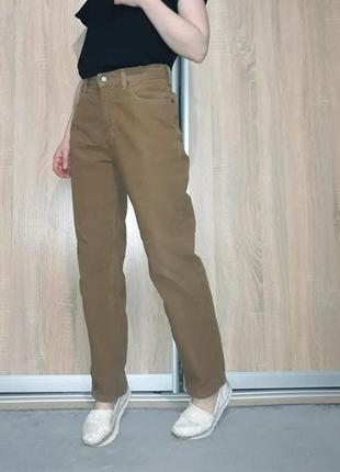 Винтажные мягкие прямые рыжие джинсы бананы мом на высокой посадке lee cooper