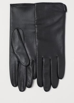 Кожаные женские перчатки h&m р.s
