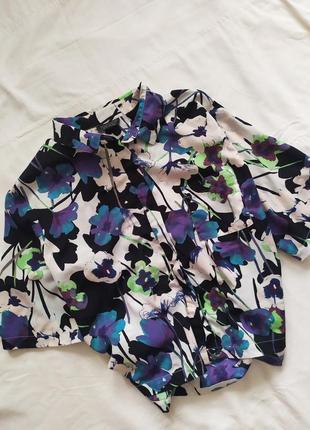 Рубашка оверсайз / блуза / гавайка / яркий принт /  укороченная кроп топ
