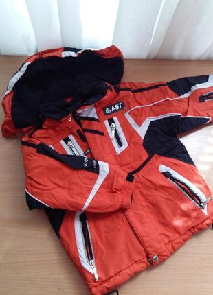 Зимний водонепроницаемый лыжный костюм куртка и штаны на подтяжках ast 3-4 года